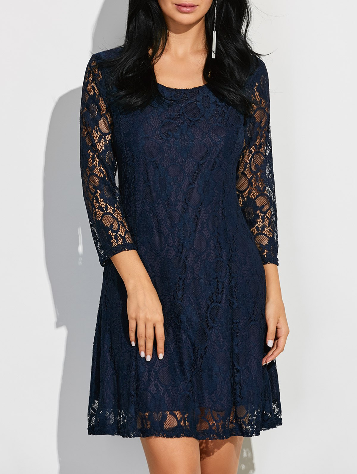 Short Lace Dress With Sleeves - Purplish blue