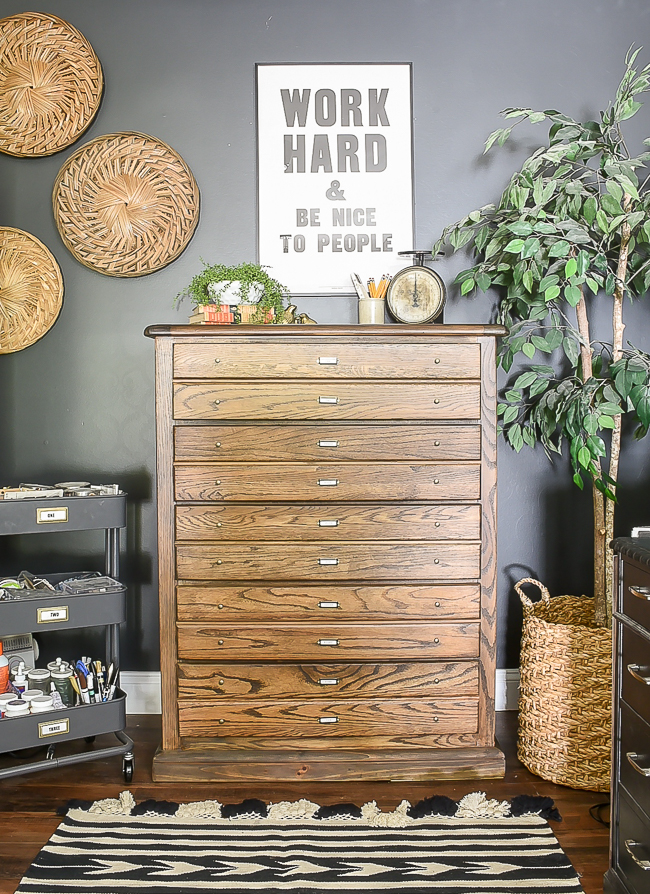 How to turn an old dresser into a vintage inspired map cabient