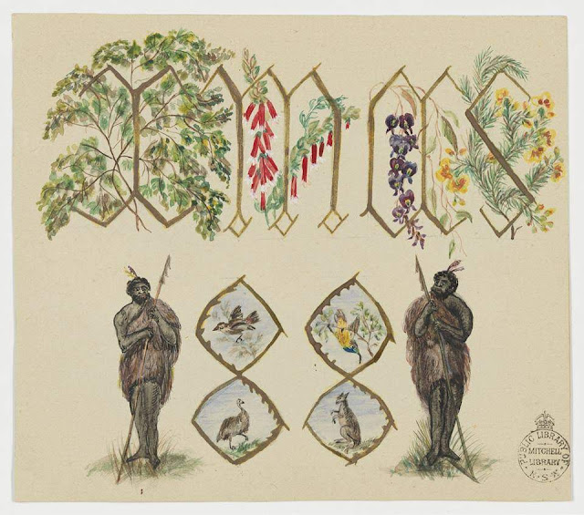 Christmas Card design depicting two indigenous men and Australian flora and fauna.