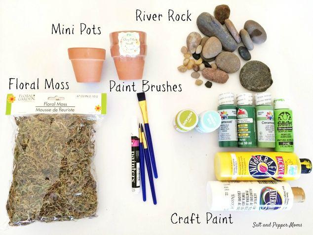مواد العمل: فرشاة، صباغة، حجر، حصى