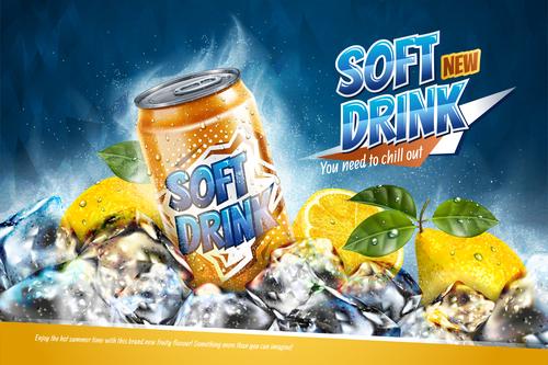 Soft drink lemon poster free vector