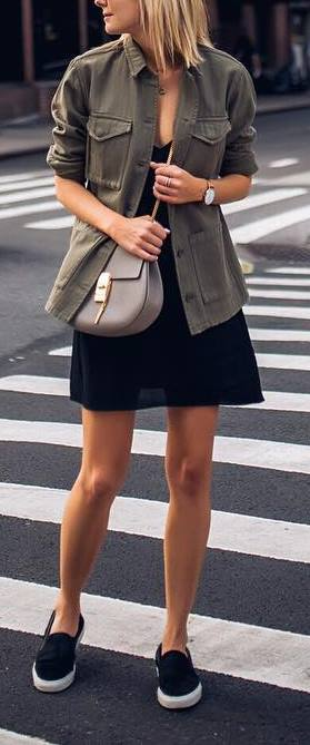 Outfit of the day: jacket + black dress + bag