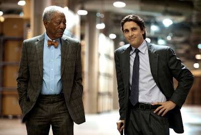 morgan freeman as lucius fox, christian bale as bruce wayne, The Dark Knight Rises, Directed by Christopher Nolan