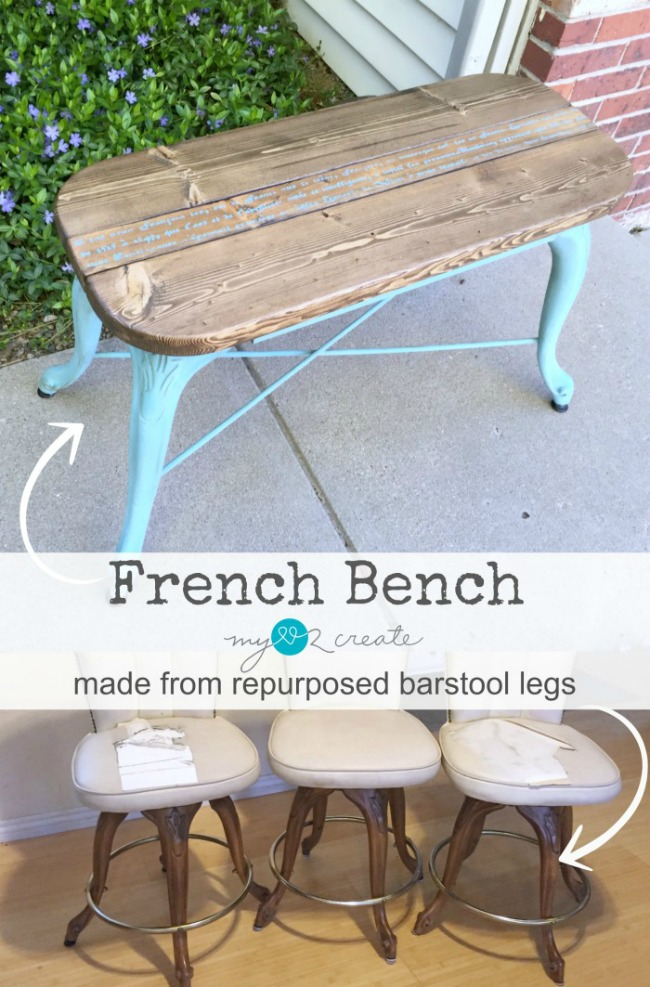 French Bench from Repurposed Barstool Legs, full picture tutorial at MyLove2Create