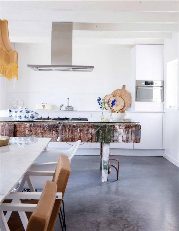 mesa de cocina con madera reciclada chicanddeco