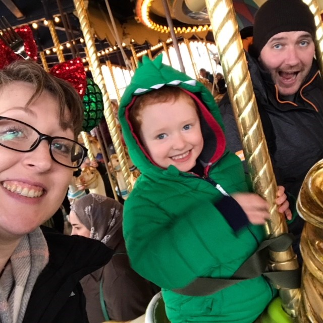 Mummy, Daddy and Son on a carousel