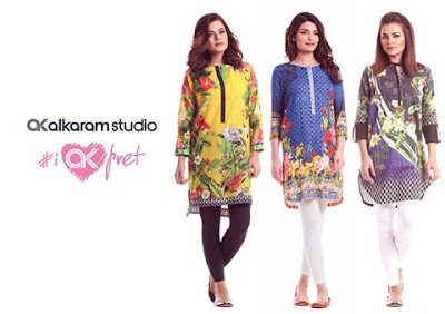 Alkaram digital printed kurta designs collection 2017 for girls