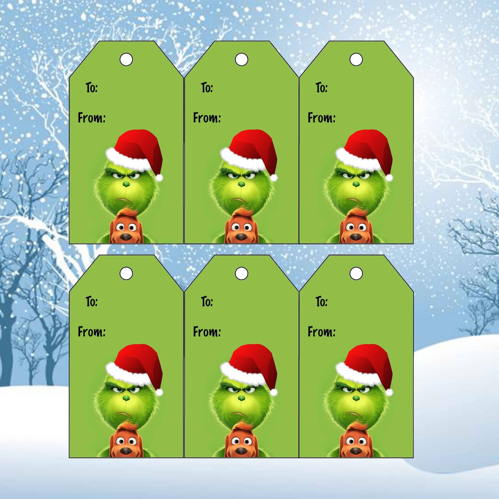 Daisy Celebrates The Grinch Christmas Gift Tags