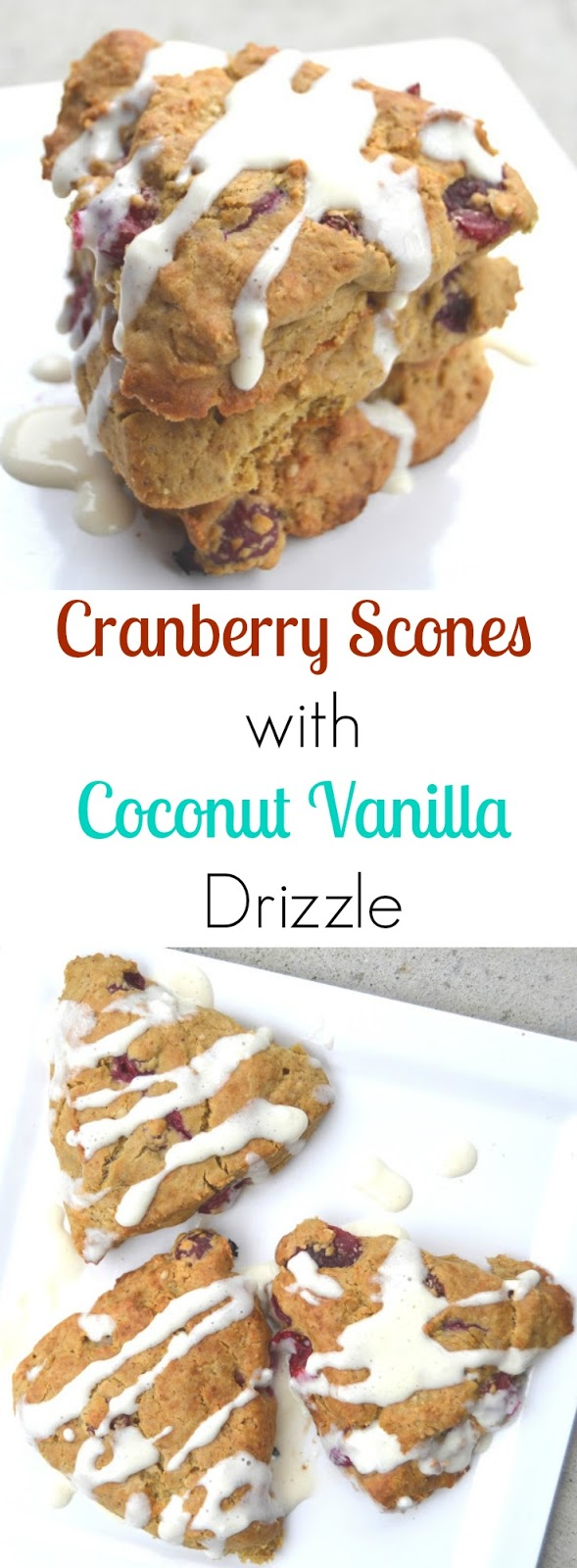 These Cranberry Scones with Coconut Vanilla Drizzle are made healthier with whole-wheat flour, yogurt, fresh cranberries and a healthier yogurt based drizzle! www.nutritionistreviews.com
