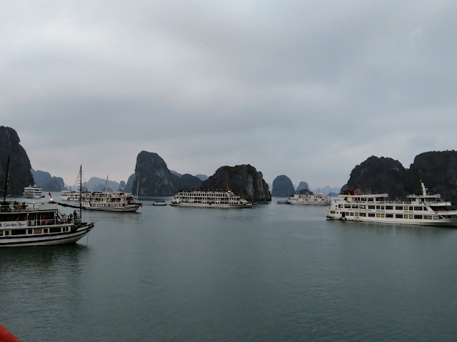Various junks on Halong Bay, Vietnam