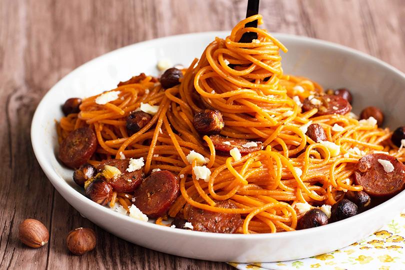recette spaghettis noisettes et chorizo