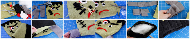 Step-by-step how to make a stuffed Frankenstein Halloween dog toy