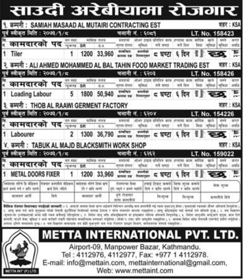 Jobs For Nepali In Saudi Arabia, Free Visa & Free Ticket, Salary -Rs.50,940/