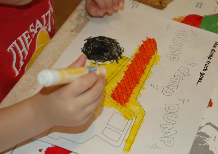 Construction theme coloring for fine motor practice