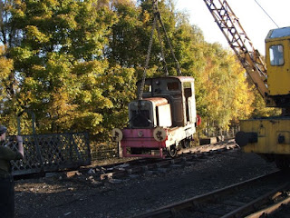 Queen Anne being liberated from an isolated piece of track beside Aviemore Speyside station in 2010