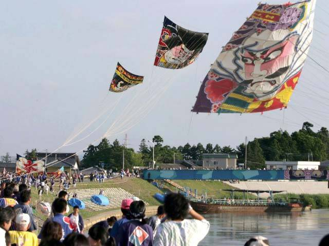 Shirone Takogassen (huge kite fighting festival) along the Nakanokuchi river bank in Shirone, Niigata Pref.
