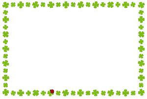 春のフレーム「クローバーとてんとう虫」横