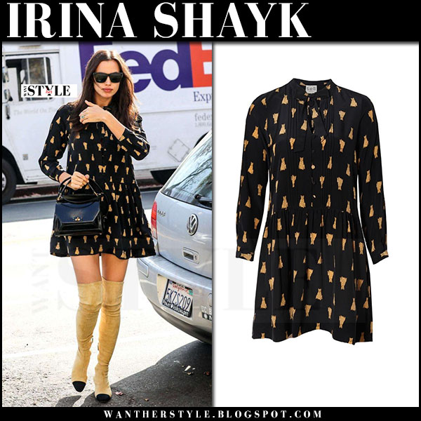 Irina Shayk in black print mini dress and beige suede boots chanel what she wore