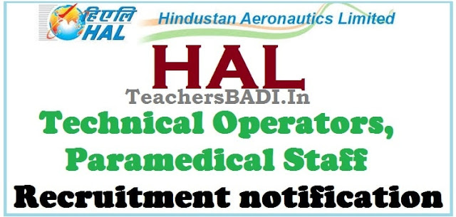 HAL,Technical Operators,Paramedical Staff,Recruitment