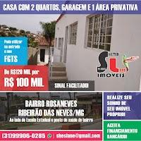 CASA NO BAIRRO ROSANEVES: 2 QUARTOS, COM ÁREA PRIVATIVA E 1 VAGA - RIBEIRÃO DAS NEVES/MG - 100 MIL!