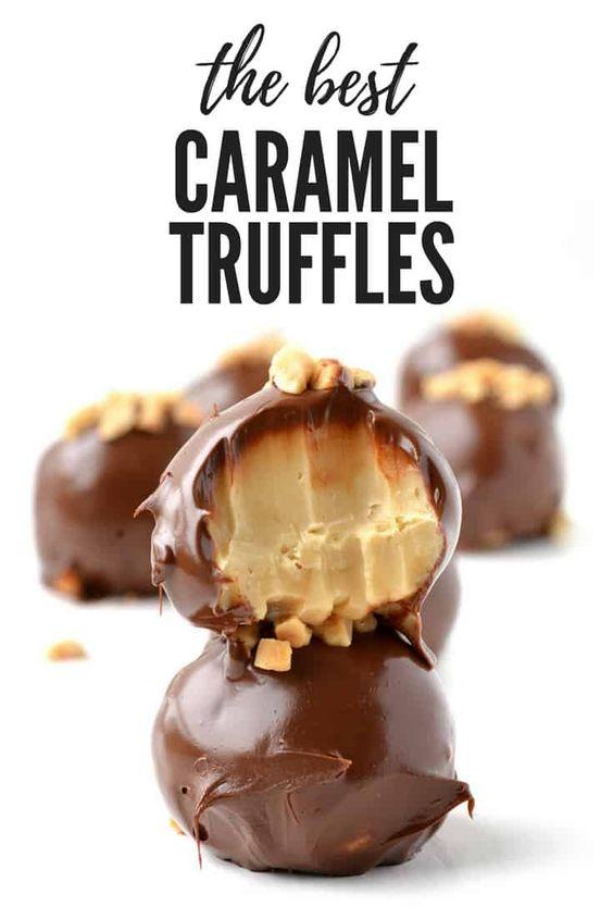 The BEST Caramel Truffles made in the microwave! #dessert #caramel #fudge #truffles