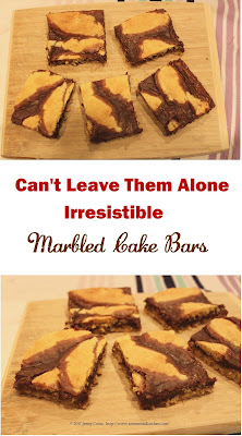 Pinterest pin image of cut cake bars on cutting board