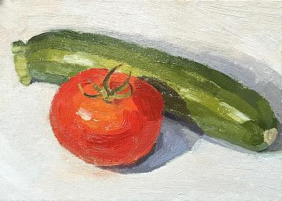 #56 'Courgette & Tomato' 5×7″