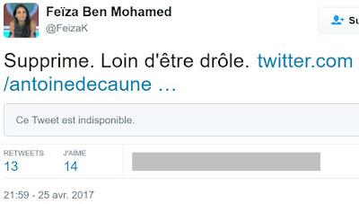 Tweet de Feiza Ben Mohamed en réponse à un trait d'humour d'Antoine de Caunes