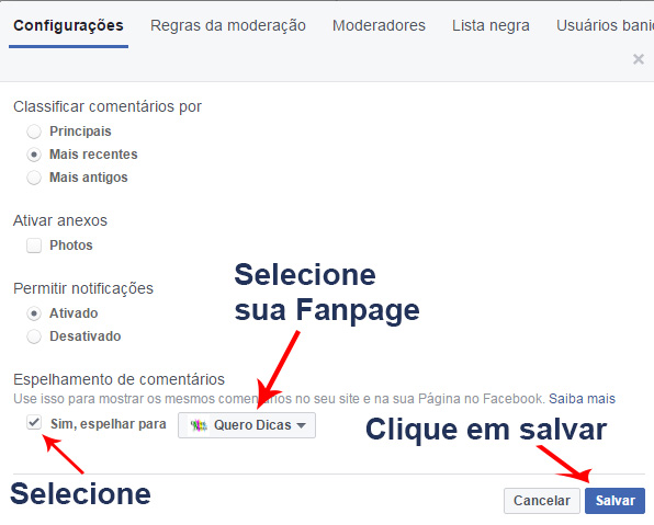 Vincular a página do Facebook ao Blogger e vice-versa
