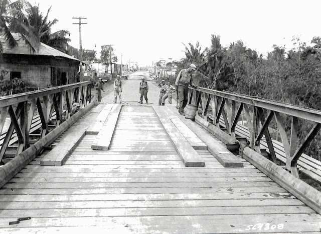 A Bailey bridge built in Lipa by the US Army.  Image source:  United States National Archives.