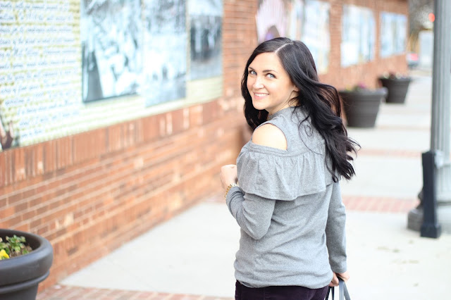Cold Shoulder Sweatshirt with ruffle