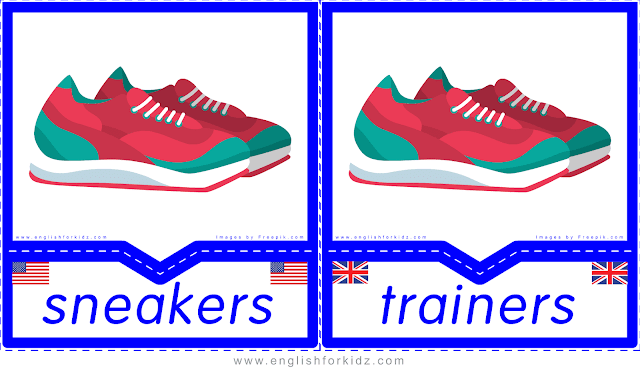 Sneakers vs trainers - English clothes and accessories flashcards for ESL students