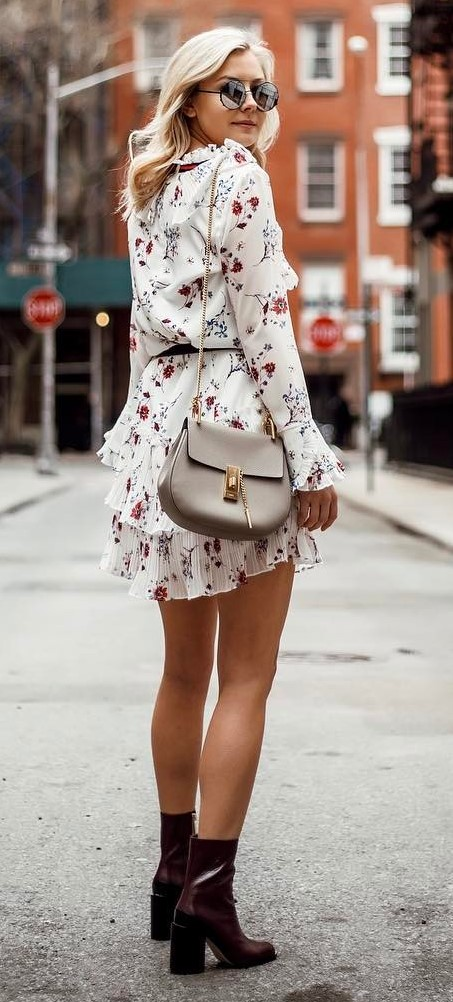 outfit idea: bag + printed dress + heels