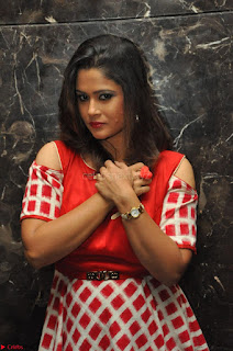 Shilpa Chakravarthy looks super cute in Red Frock style Dress 003.JPG
