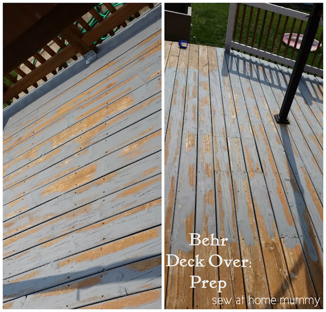Deck restoration by Sew at Home Mummy - repairs cracks, knots, crevices, leaving a smooth finish behind