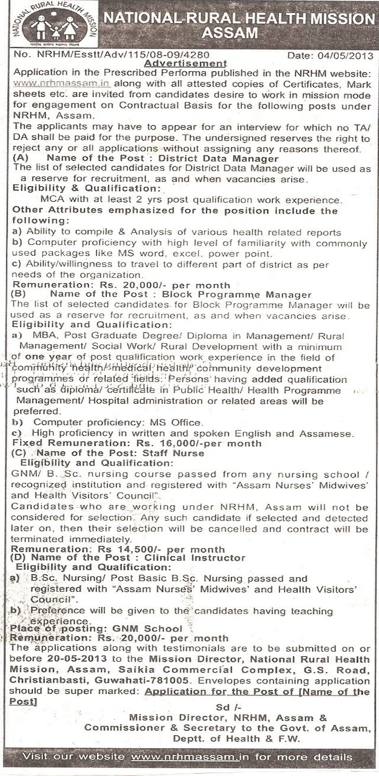 Nrhm Assam Various Jobs 2013 Assamcareer Com Jobs In