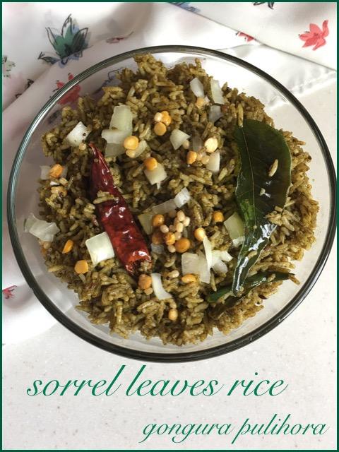Gongura Pulihora ~~ Sorrel Leaves / Roselle / Sour Leaf Rice