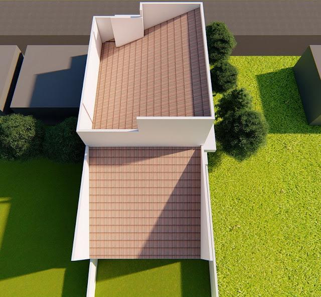 tampak atas rumah modern dan desain atap rumah minimalis