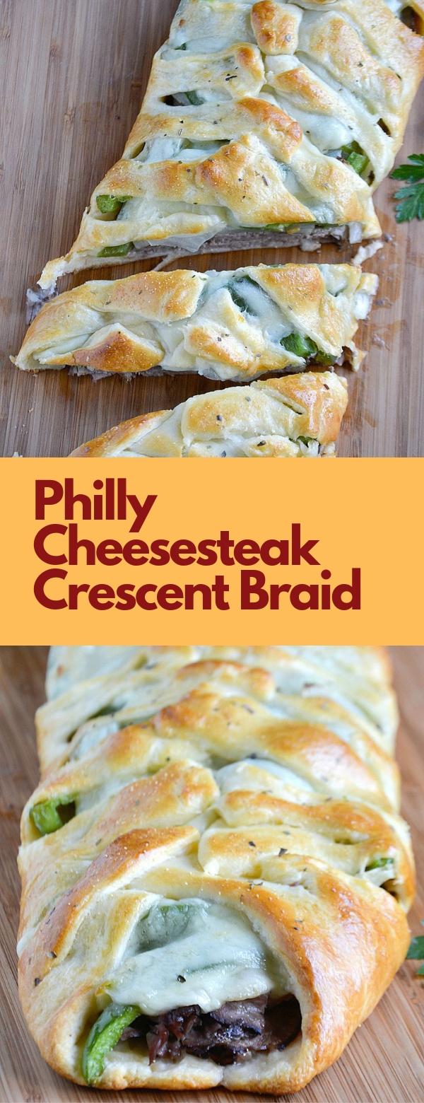 Philly Cheesesteak Crescent Braid #PHILLY #CHEESESTEAK