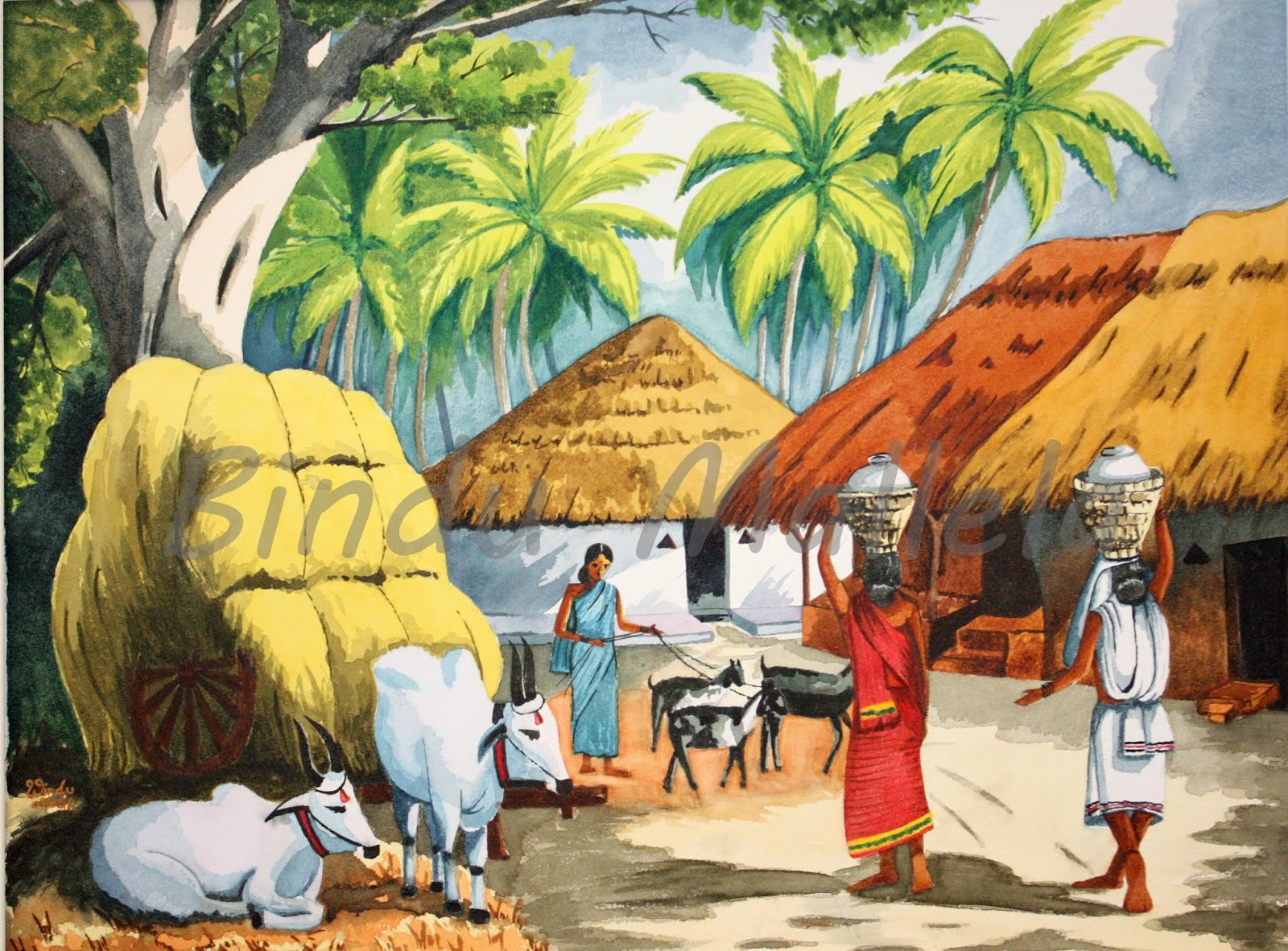 crazy for colors!: Indian village in water colorBeautiful Indian Village Paintings