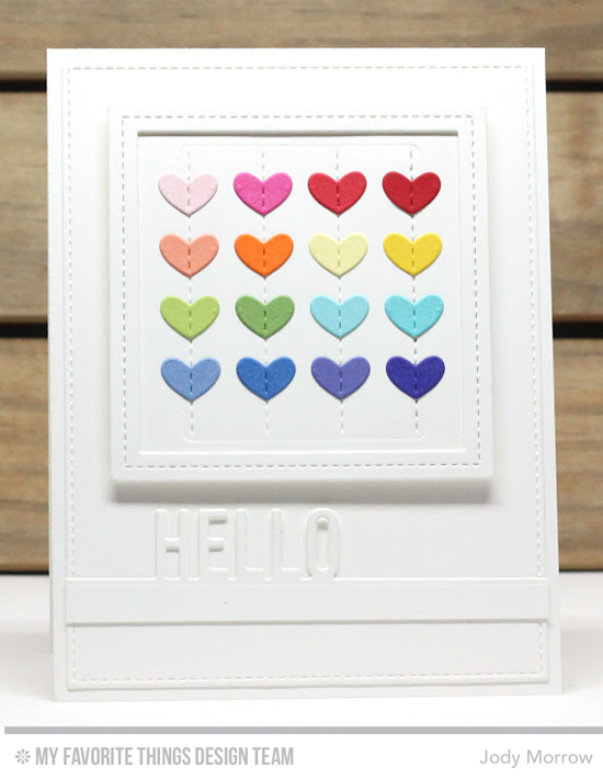 Handmade card from Jody Morrow featuring Stitched Heart Grid, Hello Beautiful, Stitched Square STAX, Single Stitched Line Square Frames, and Blueprints 13 Die-namics #mftstamps
