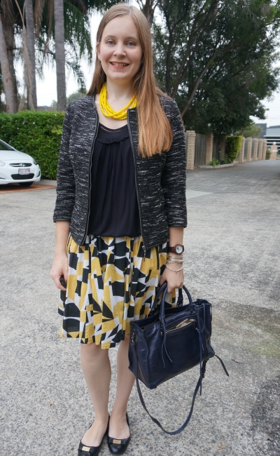 boucle blazer, black tank and a line pleated printed skirt with Regan bag: Business casual office outfit | awayfromblue