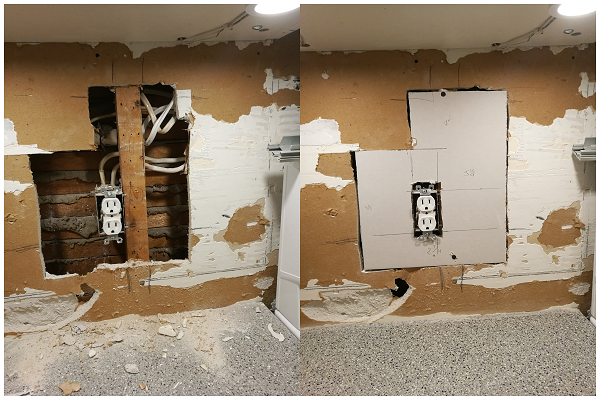Back splash wall before and after patching