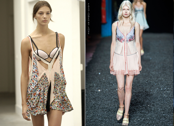 Fashion copycats Balenciaga Spring/Summer 2004 VS Mary Katrantzou Spring/Summer 2015 via www.fashionedbylove.co.uk
