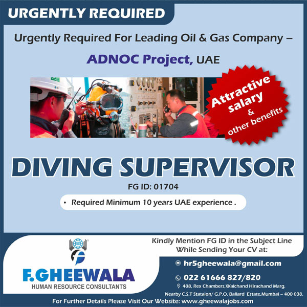 Good Diving Supervisor Job For ADNOC Project UAE