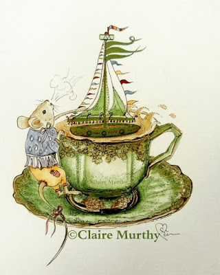 watercolour wildlife art mouse and teacup