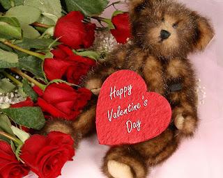 Happy Valentines Day's osito con corazón y flores rojas