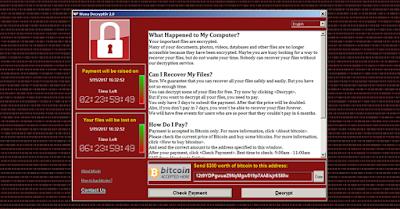pesan minta tebusan dari ransomware wannacry