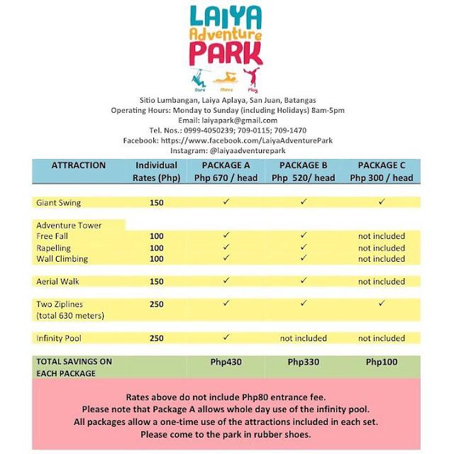 Laiya Adventure Park Room Rates
