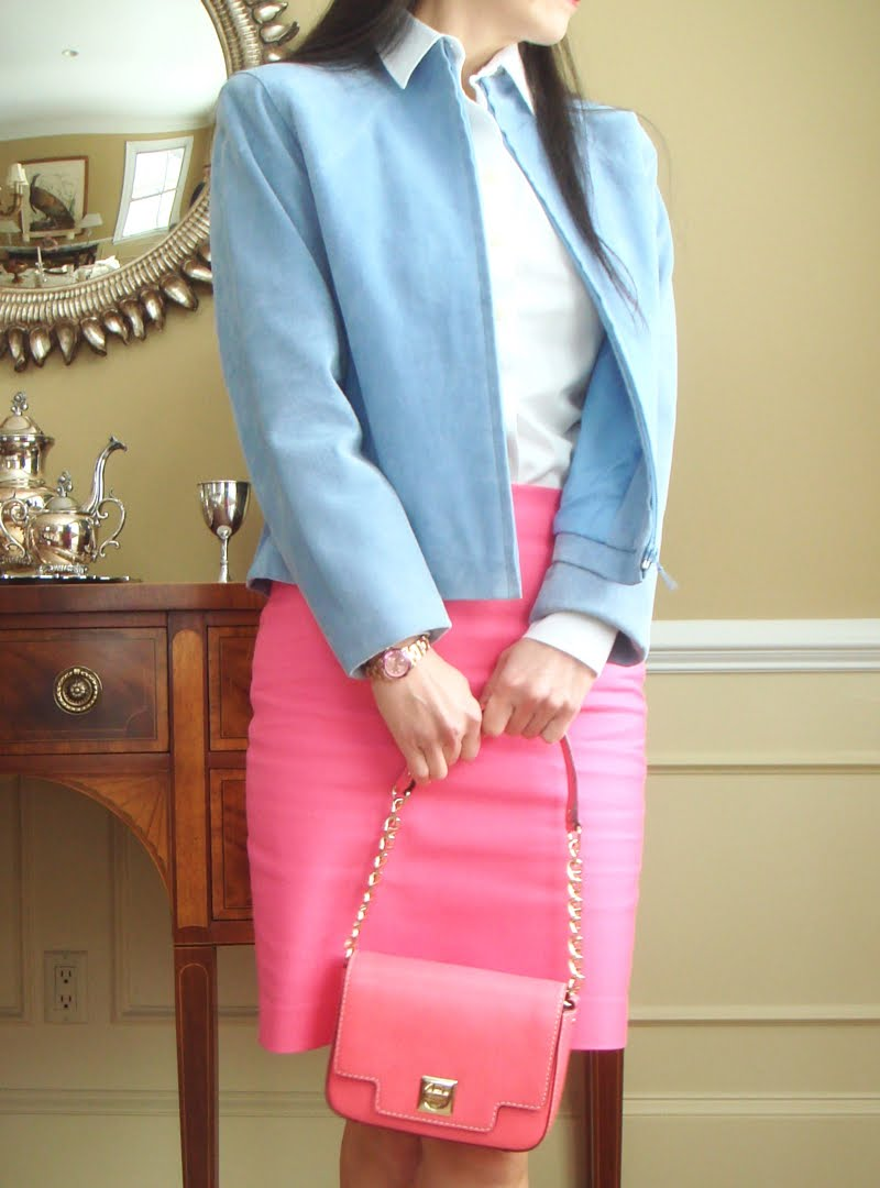 Bright Pink Work Outfit - upclose of mid section.